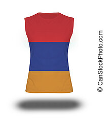 athletic sleeveless shirt with Armenia flag on white background and shadow