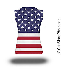 athletic sleeveless shirt with USA flag on white background and shadow