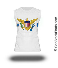 athletic sleeveless shirt with Virgin Islands, US flag on white background and shadow