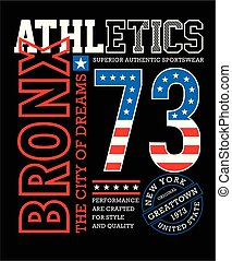 Athletic sport, Bronx typography design t-shirt graphic