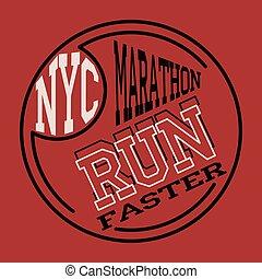 Athletic sport running typography