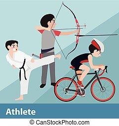 Athletic sport vector cartoon illustration set