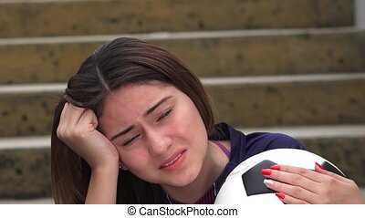 Athletic Teen Female Soccer Player And Stress