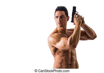 Athletic Topless Man Holding Handgun Against White - Half...