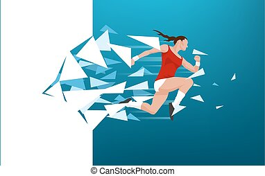 Athletic woman breaking through wall