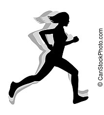 Athletic woman silhouette running. Conceptual illustration...