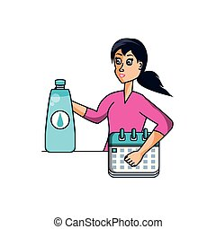 athletic woman with calendar and bottle of water