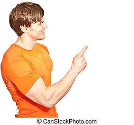 athletic young man pointing at something