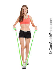 athletic young woman doing workout with physio tape latex tape