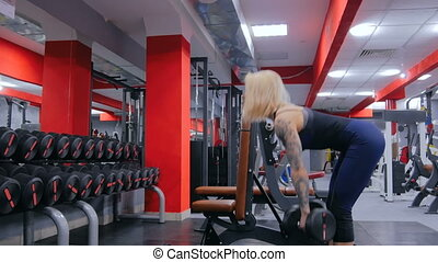 Athletic young woman lifting dumbbells at the gym