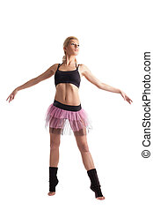 Athletic young woman posing in dance sport costume