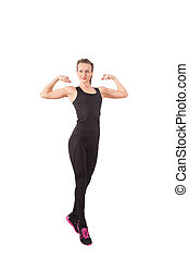 Athletic young woman showing biceps