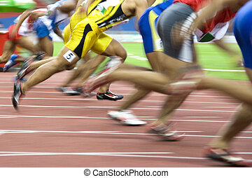 Athletics - Image of 100 meters athletes in action with...