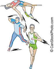 Athletics. Decathlon: High jump, Shot put, Race. Color vector illustration.