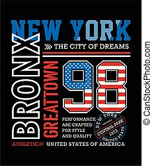 Athletics New York, Bronx typography design t-shirt graphic,...