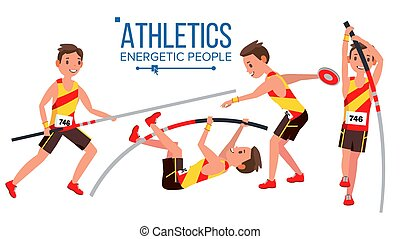 Athletics Player Male Vector. Athletic Sport Competition. Sports Equipment. Sprinter. Sprint Start. Isolated Flat Cartoon Character Illustration