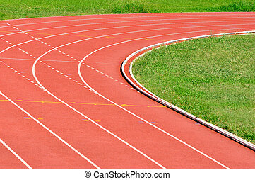 Details of an athletics running track, turning right