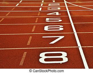 Athletics running track start finish line