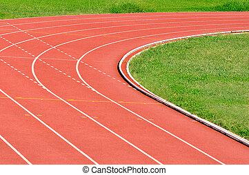 Athletics Running Track - Details of an athletics running...