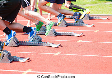 Start athletes from Athletics starting blocks