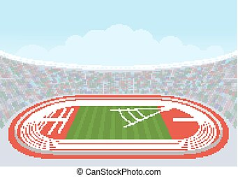 Athletics stadium for competitions. Vector. Template design