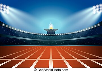Athletics stadium with track at general front night view....