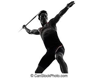 athletik, junger, hintergrund, freigestellt, mann, ...