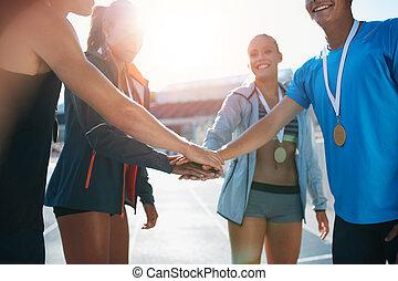athletik, mannschaft, feiern, sieg