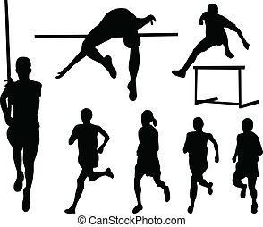 athletik, silhouette, sammlung