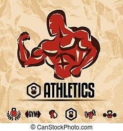 athletik, turnhalle, etiketten, sammlung, weinlese, fitness, embleme