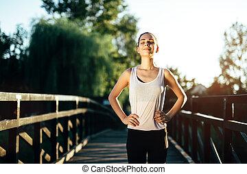 athletische, bereit, frau, laufen