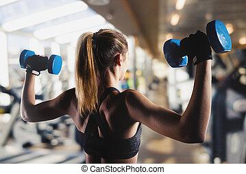 athletische, bizeps, turnhalle, m�dchen, züge