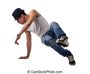 athletische, brechen, mann, tanzen routine