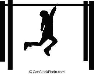 athletische, children., silhouette