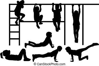 athletische, children., silhouetten