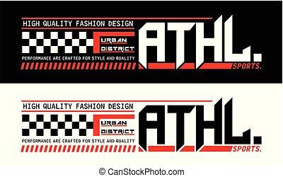 athletische, design, typographie