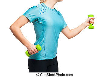 athletische, frau, arbeiten, heraus, mit, grün, hanteln