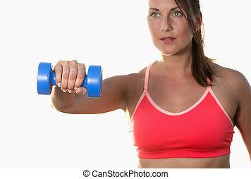 athletische, frau, arbeiten, heraus, mit, hanteln