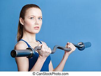 athletische, frau, mit, gewicht