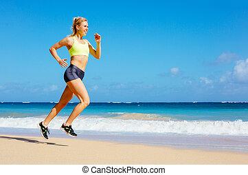 athletische, frauenlauf, sandstrand
