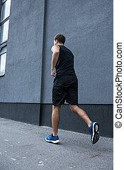 athletische, jogging, draußen, mann
