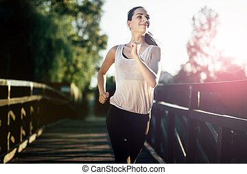 athletische, jogging, frau, draußen