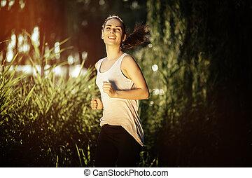 athletische, jogging, frau, natur