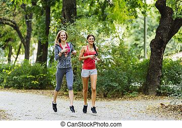 athletische, jogging, frauen, natur