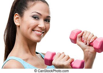 athletische, junge frau, übungen, mit, hanteln