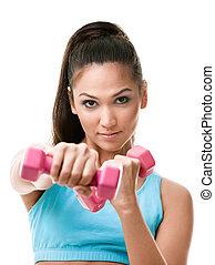 athletische, junge frau, arbeiten, heraus, mit, gewichte