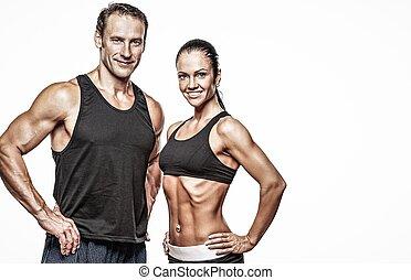 athletische, körper, paar, schöne