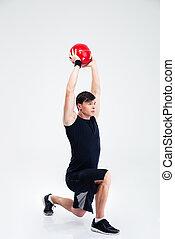 athletische, kugel, workout, mann, fitness