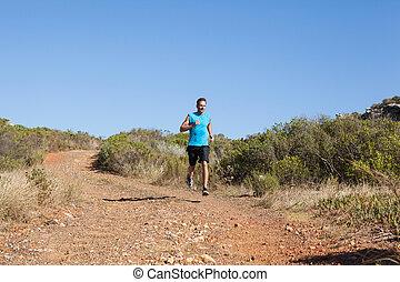 athletische, land, jogging, tra, mann