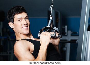 athletische, mann, arbeiten, heraus, auf, fitness,...